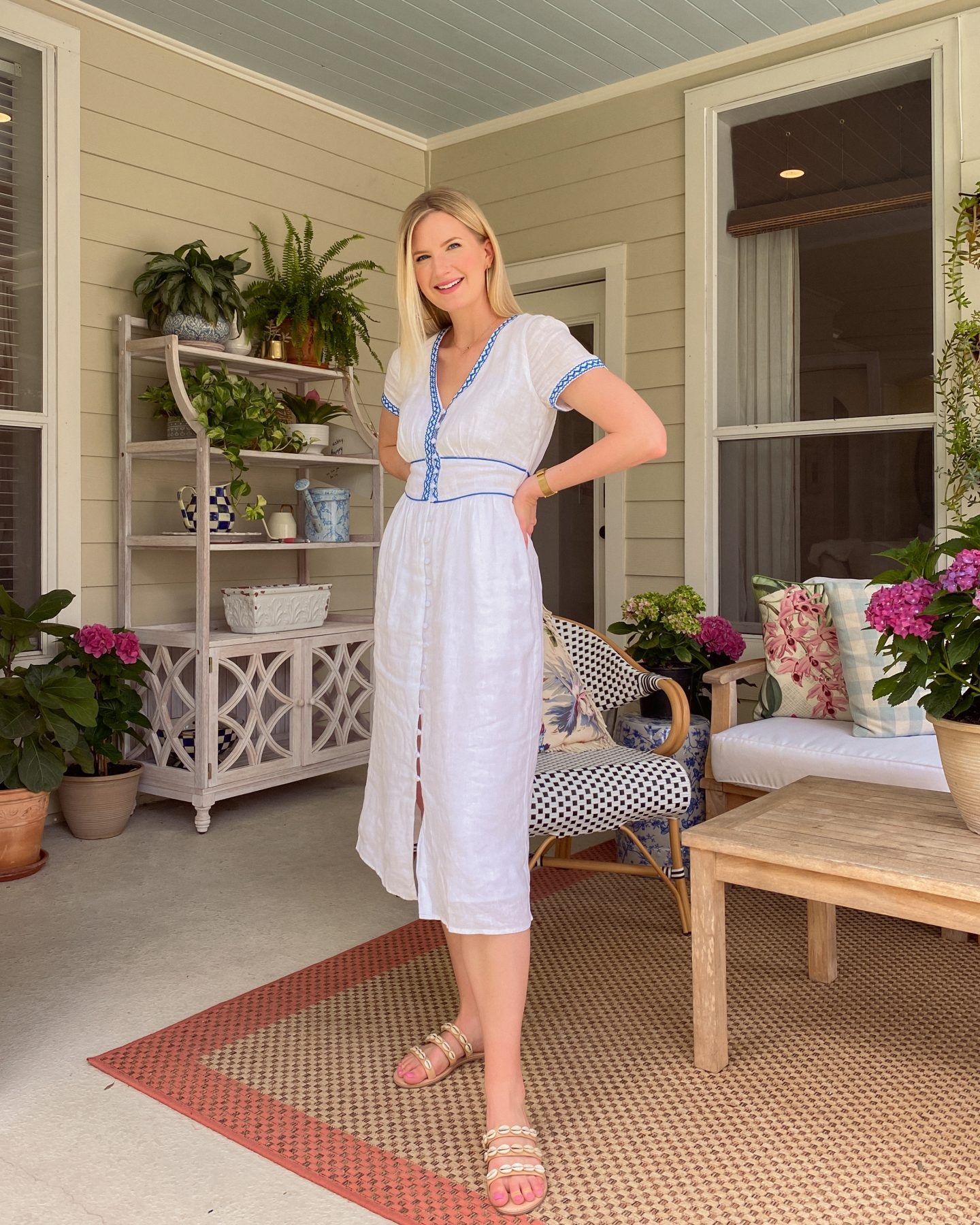 Ashley Brooke on Back Porch in J Crew Embroidered Dress