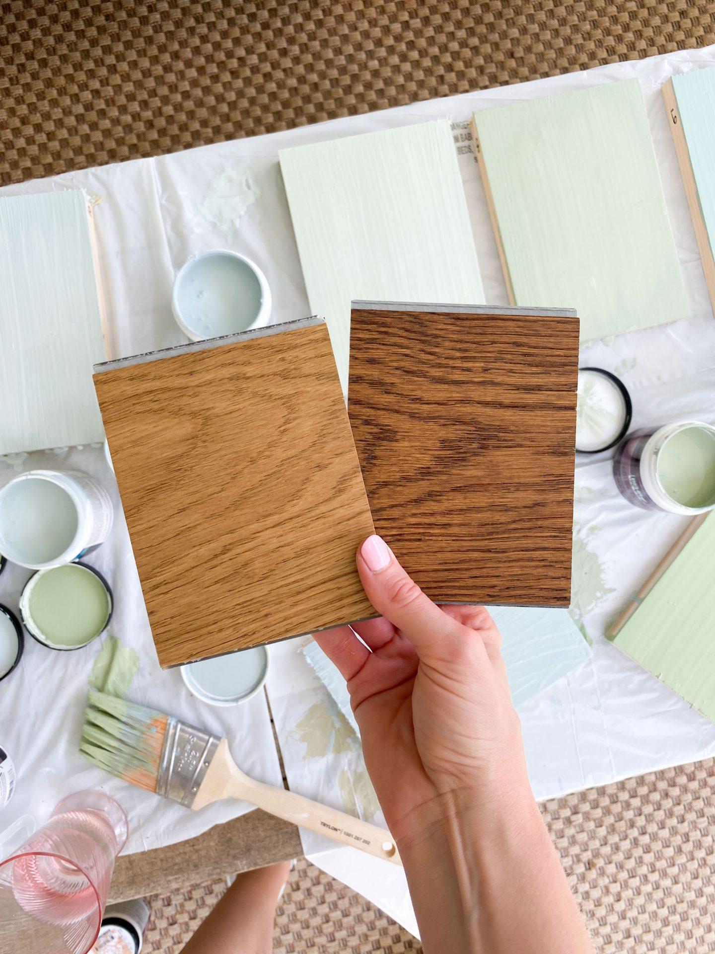 Trendy wood flooring color samples on ashleybrookedesigns.com