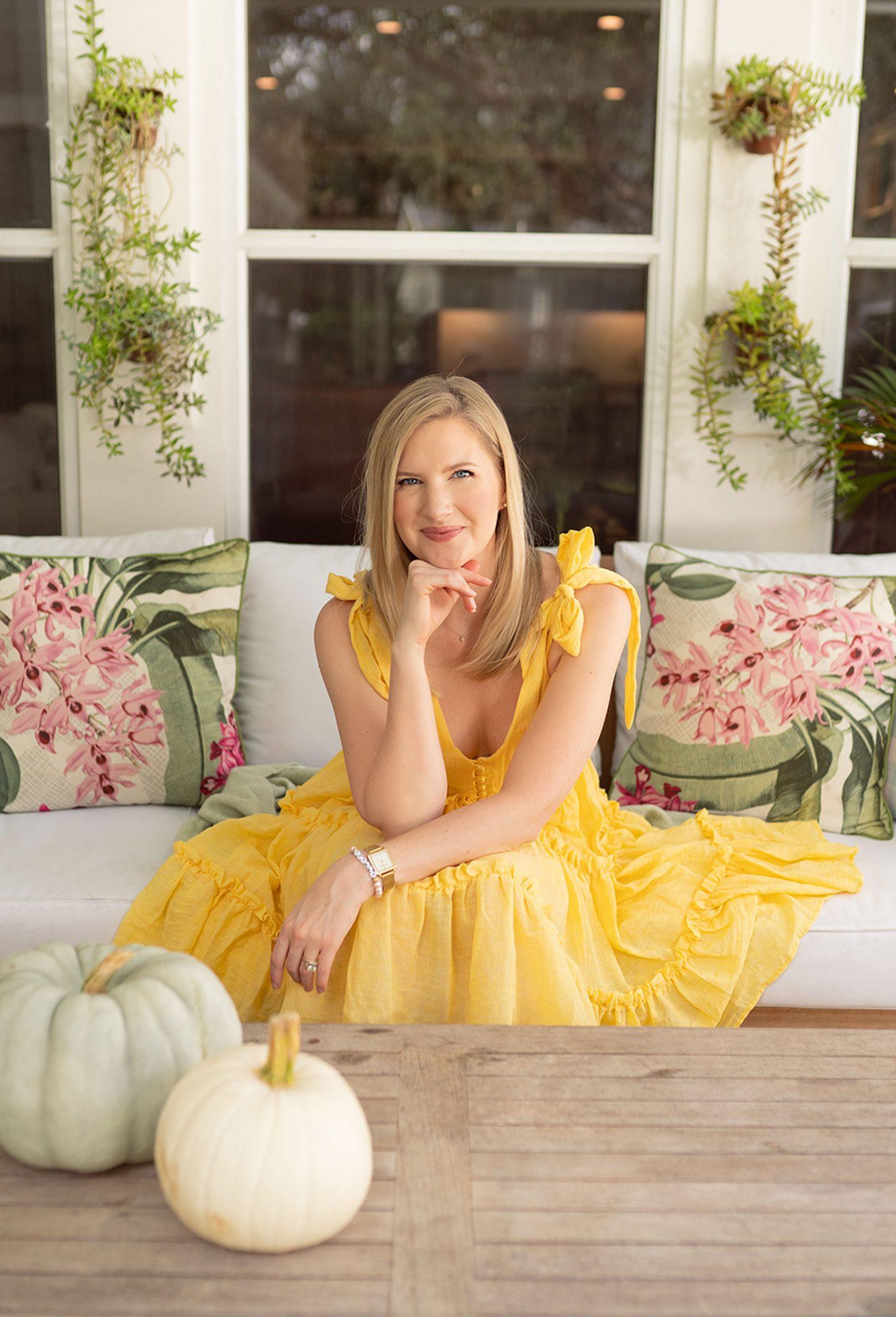 Yellow mini dress worn by Ashley Brooke