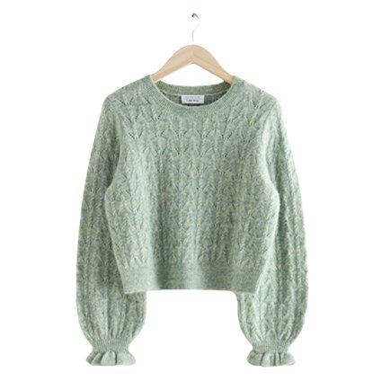Ruffled Cable Knit Sweater on Ashley Brooke Designs