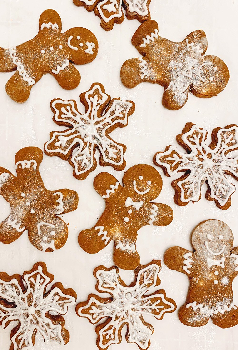 gingerbread cookies on pan with recipe