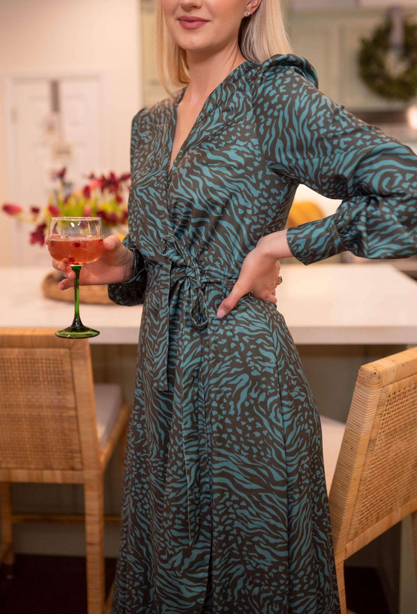 Abbey Glass dress worn by Ashley Brooke in her kitchen