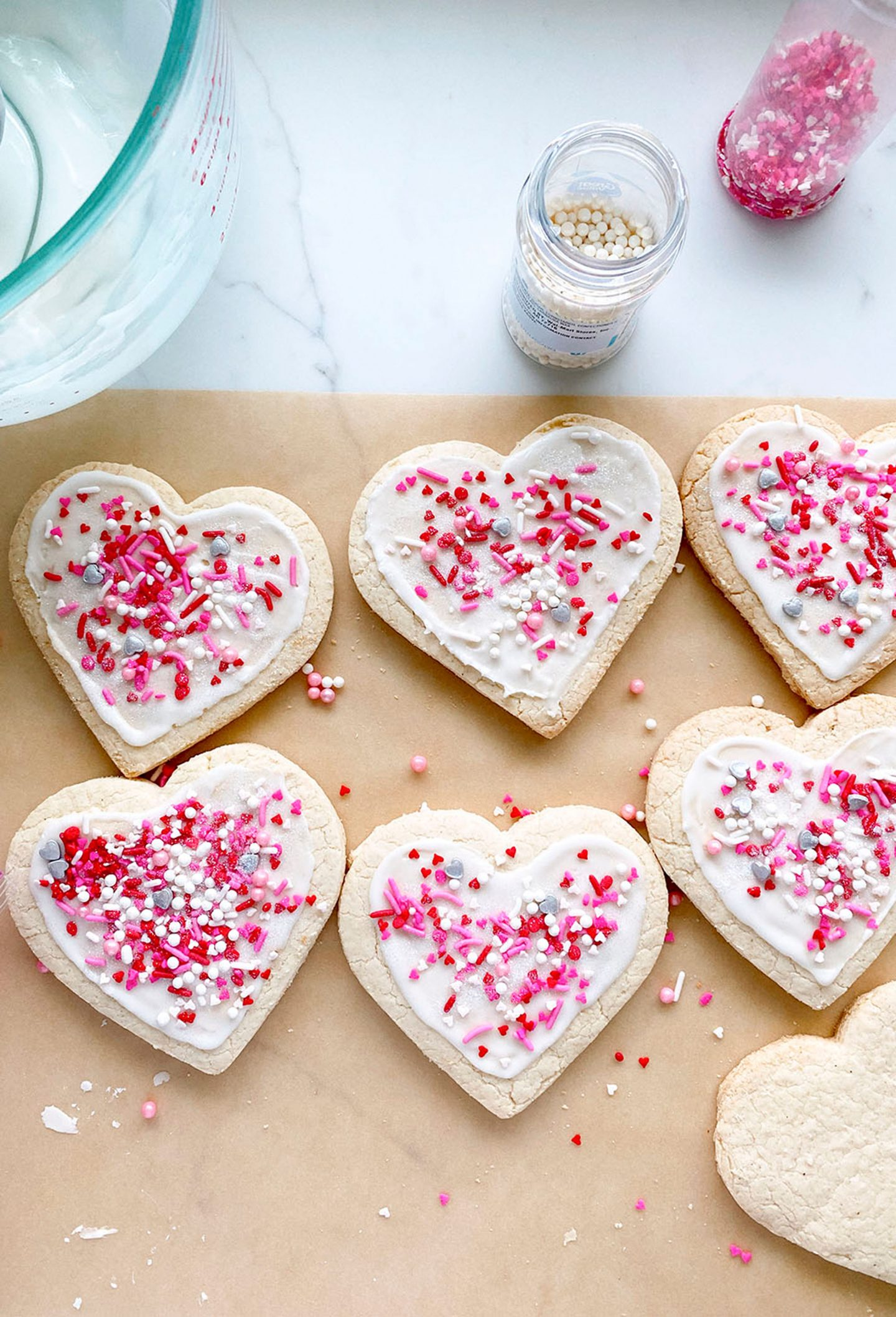 Heart shaped sugar cookies for Valentine's Day