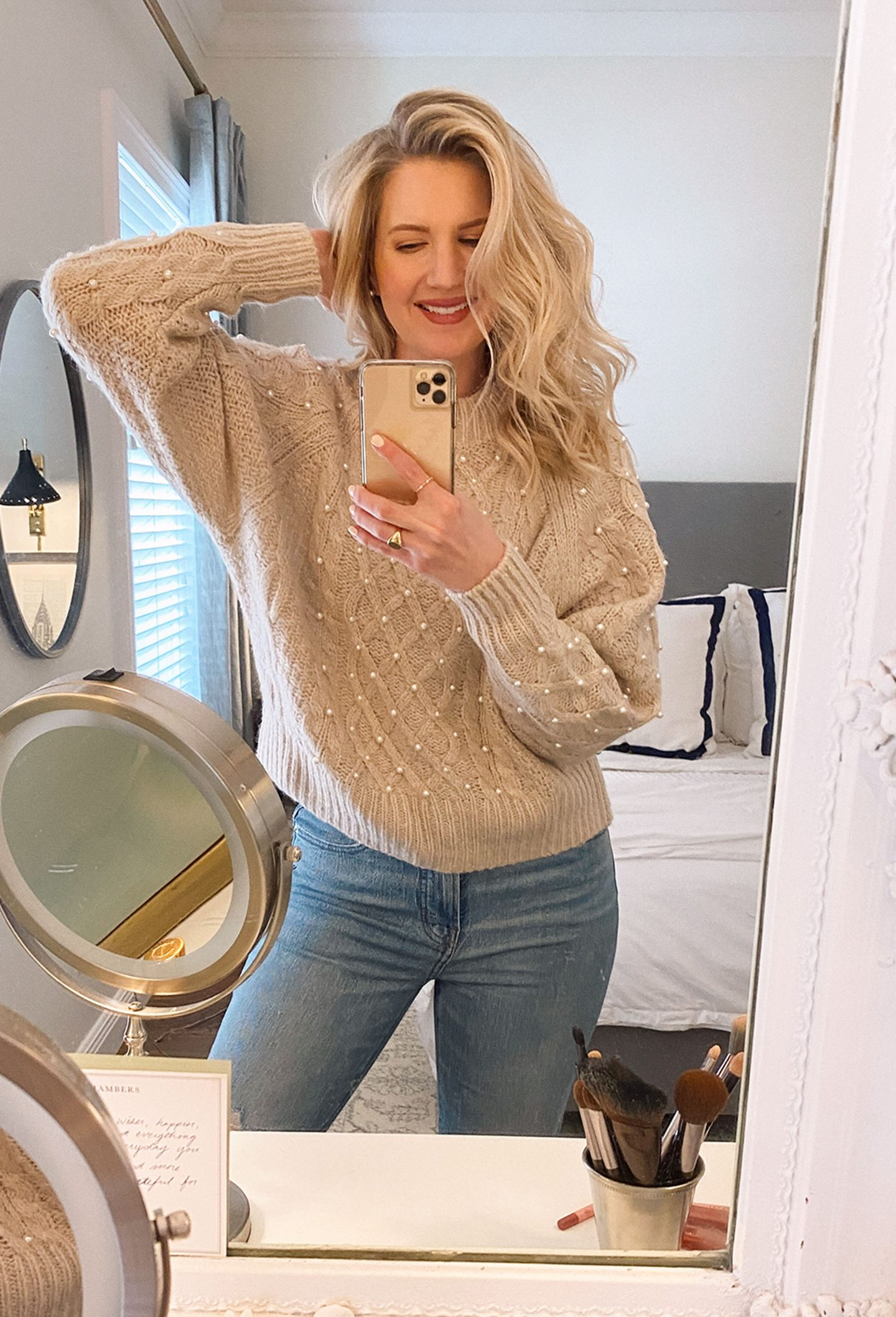 Ashley Brooke selfie in mirror and talking about her hair styling routine
