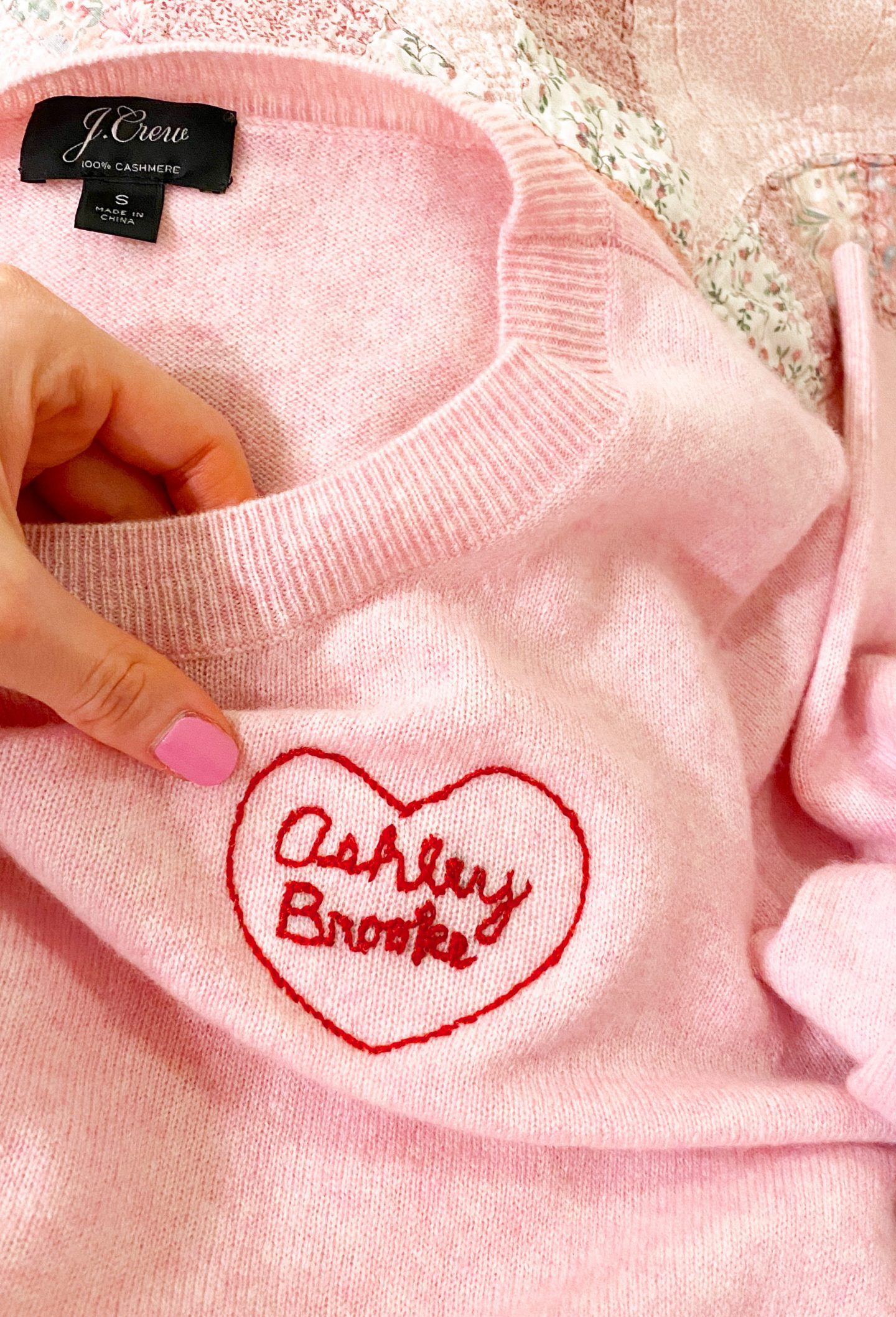 Ashley Brooke's embroidered heart sweater