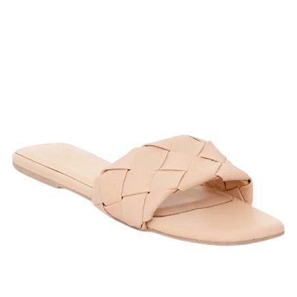 Nude Leather Slides