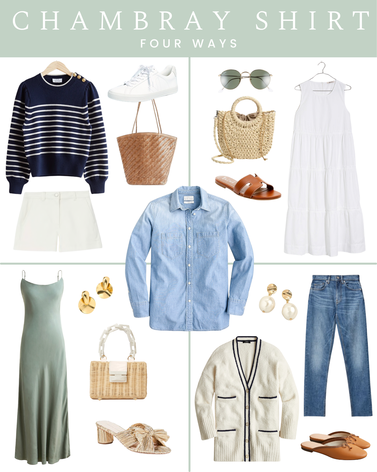How to style a Chambray Shirt 4 Ways