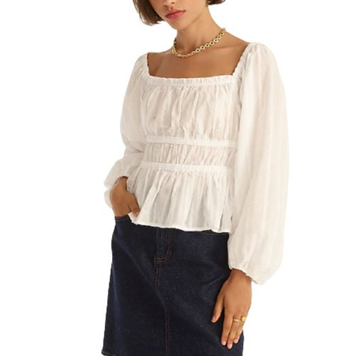 Puff-sleeve white blouse   Monday Morning Musings   No.172