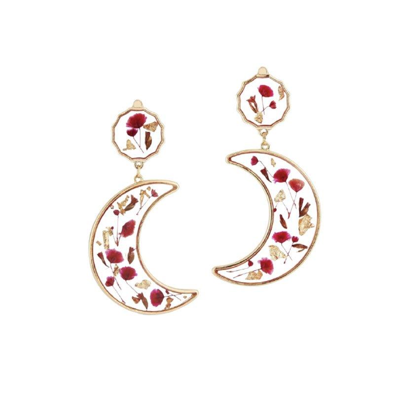 flower pressed earrings