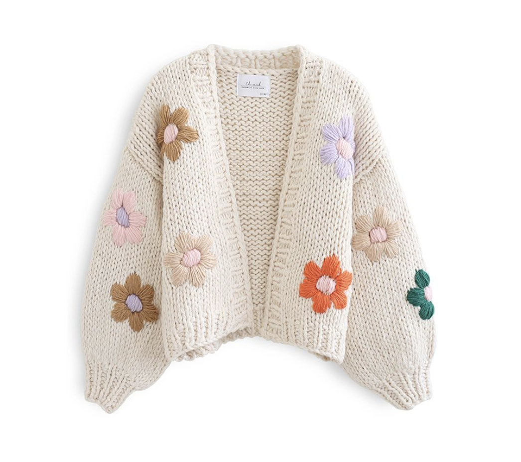 Hand Knit Floral Sweater