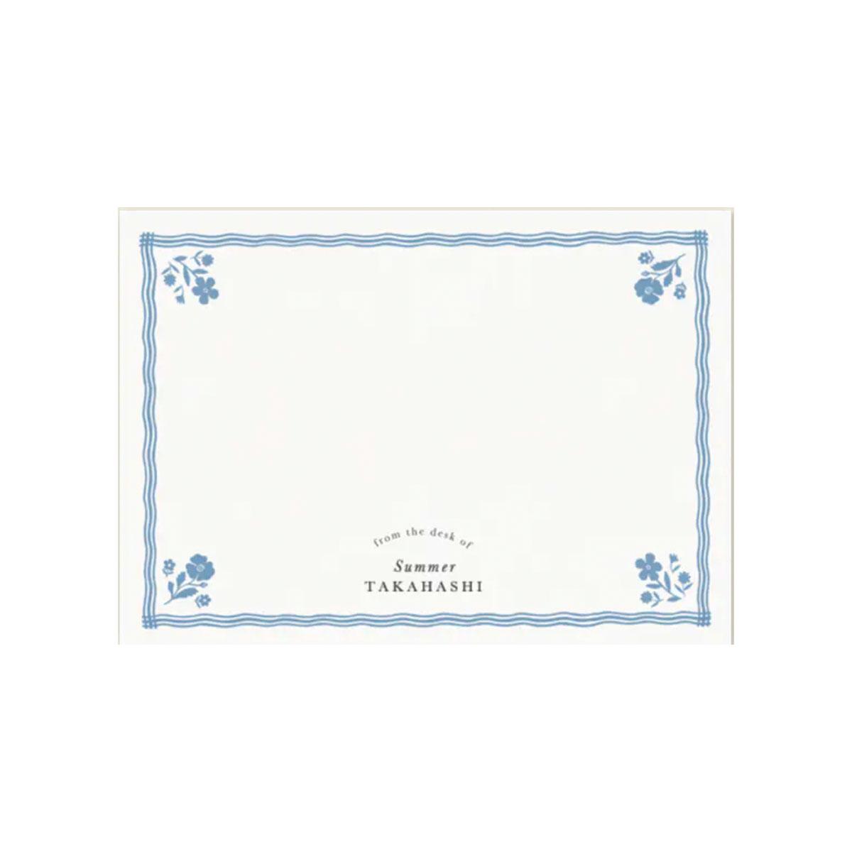 blue flower stationery