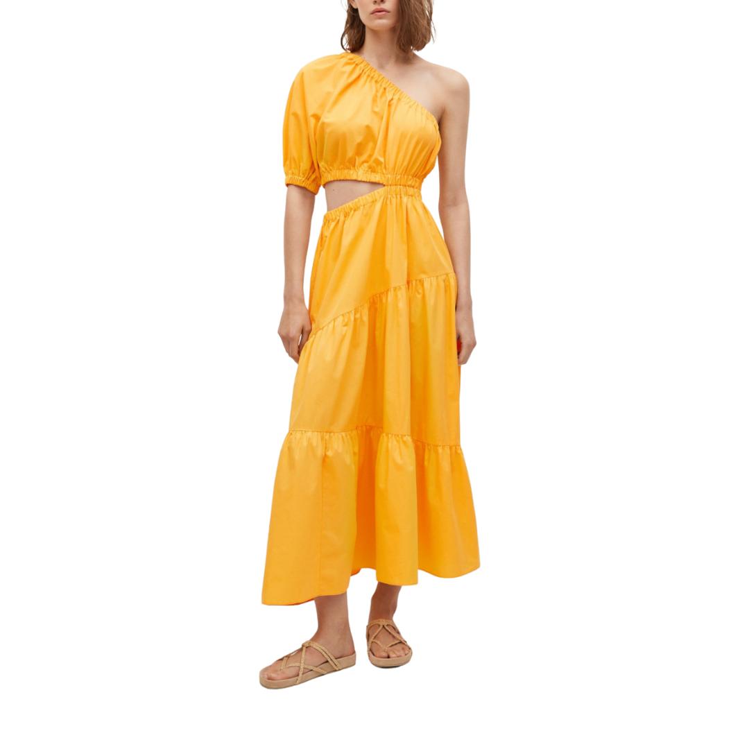 Mango Yellow One-Shoulder Dress
