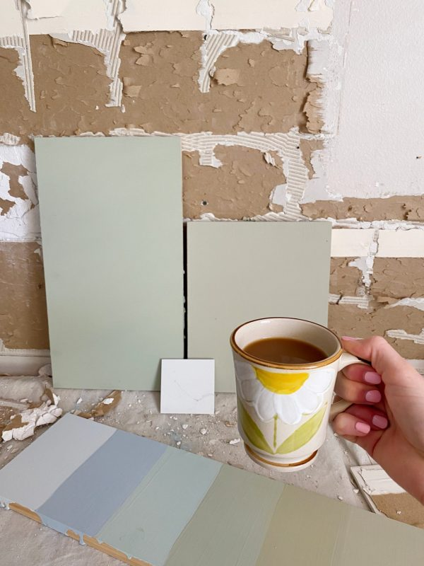 Ashley Brooke showing two Green Kitchen Cabinet Paints