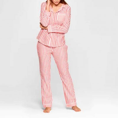 Women's Striped Flannel Notch Collar Pajama Set - Gilligan & O'Malley™ Red